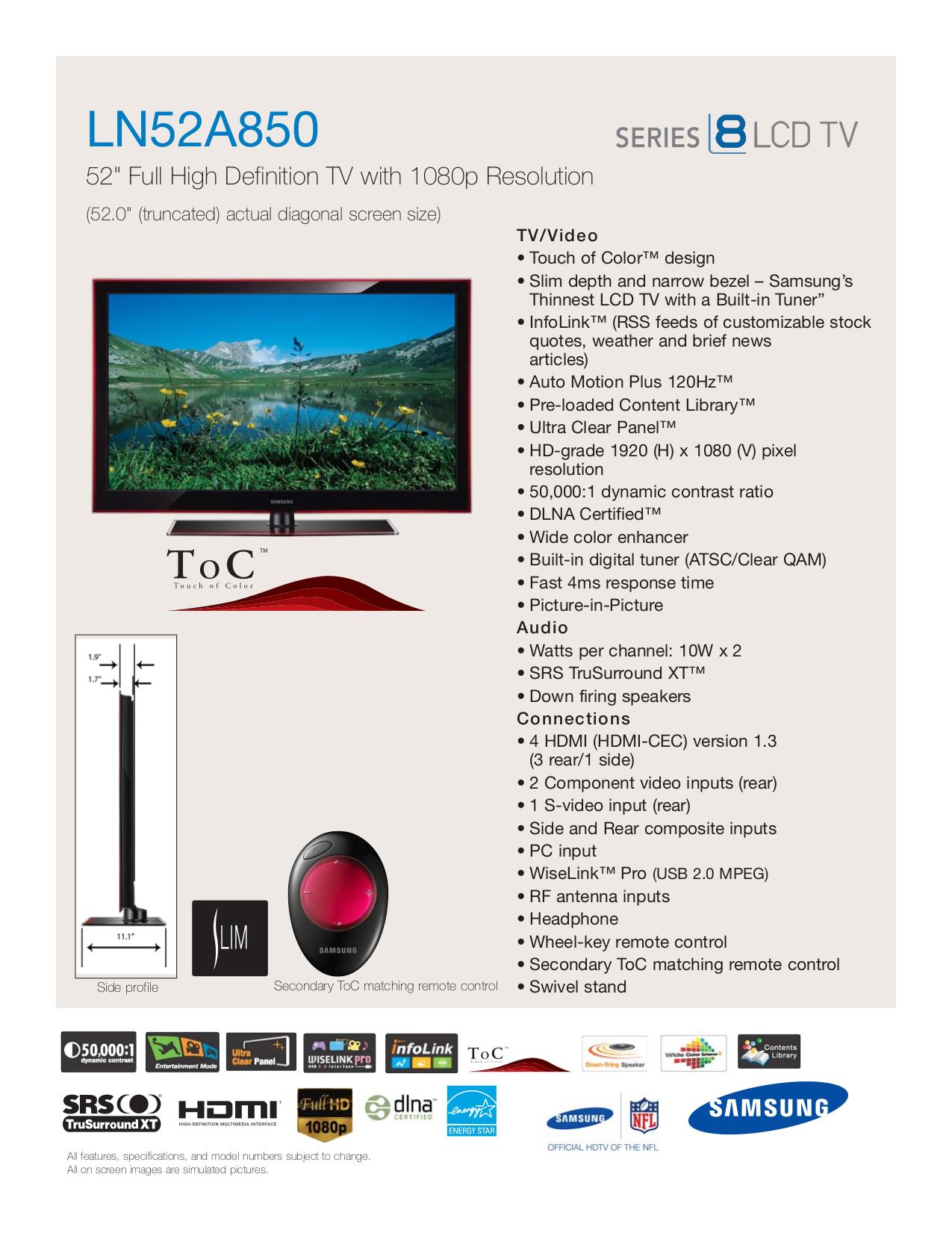 download free pdf for samsung ln52a850 tv manual rh umlib com Samsung Owner's Manual Samsung Refrigerator Problems