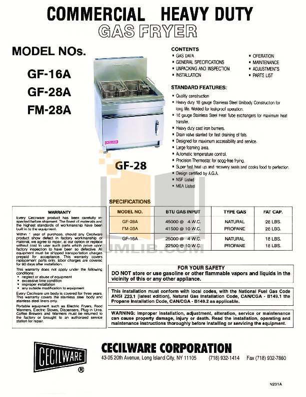 pdf for Cecilware Other GF-16A Fryers manual