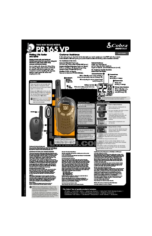 pdf for Cobra 2-way Radio microTALK PR165 VP manual