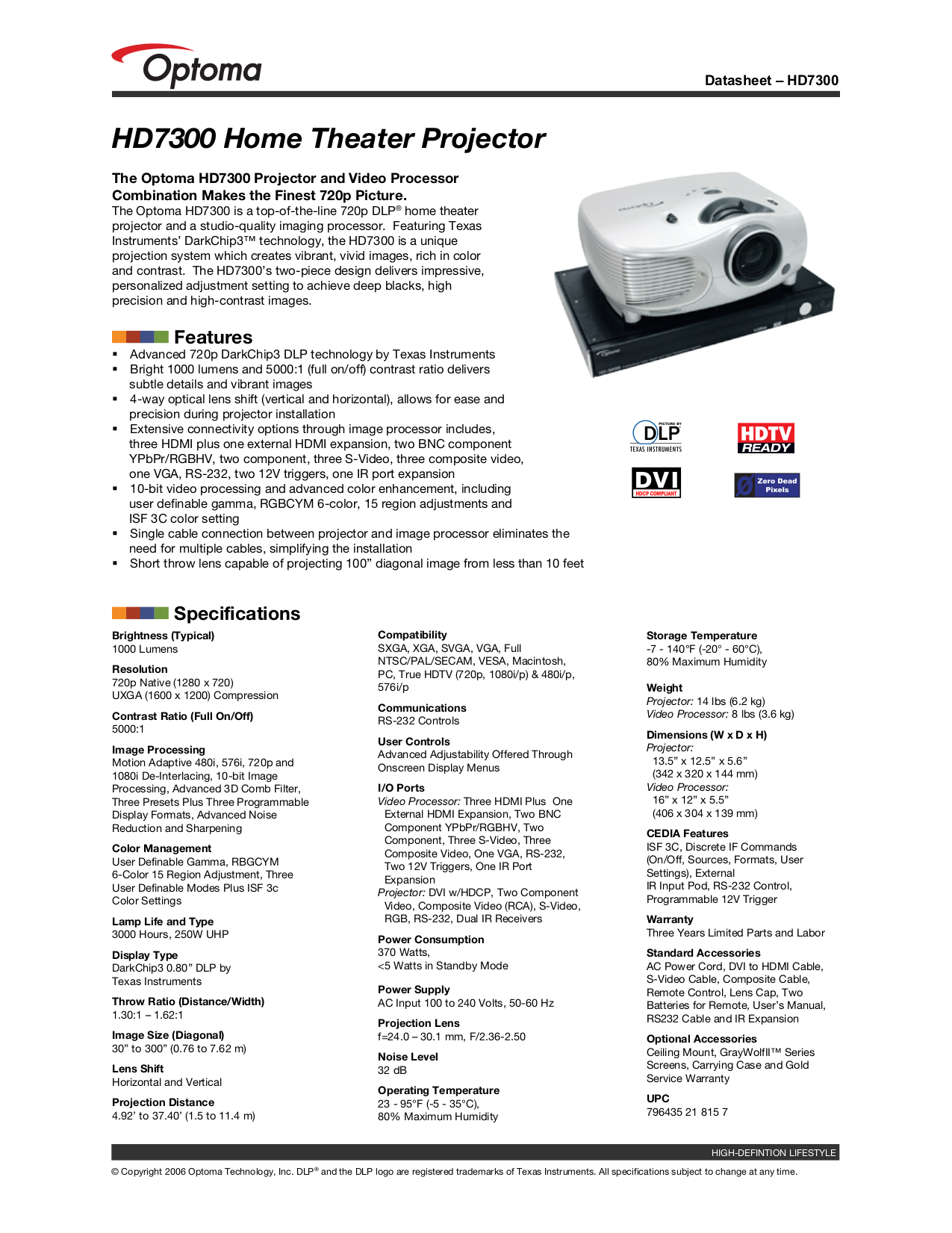 pdf for Optoma Projector HD7300 manual