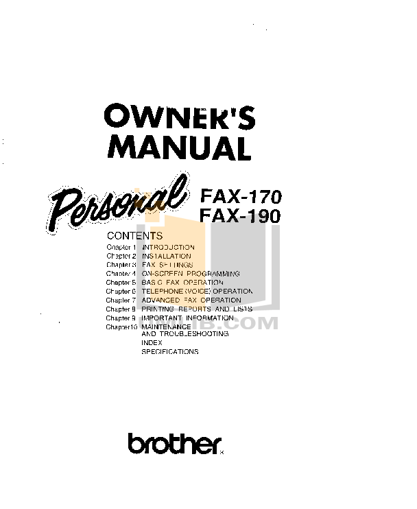 pdf for Brother Fax Machine FAX-190 manual
