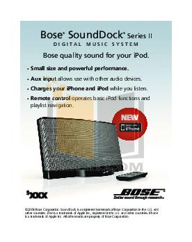 Download free pdf for Bose SoundDock Series II Ipod