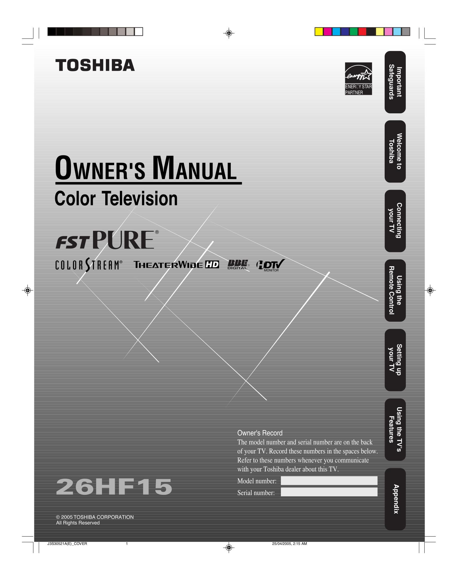Download Free Pdf For Toshiba 26hf15 Tv Manual