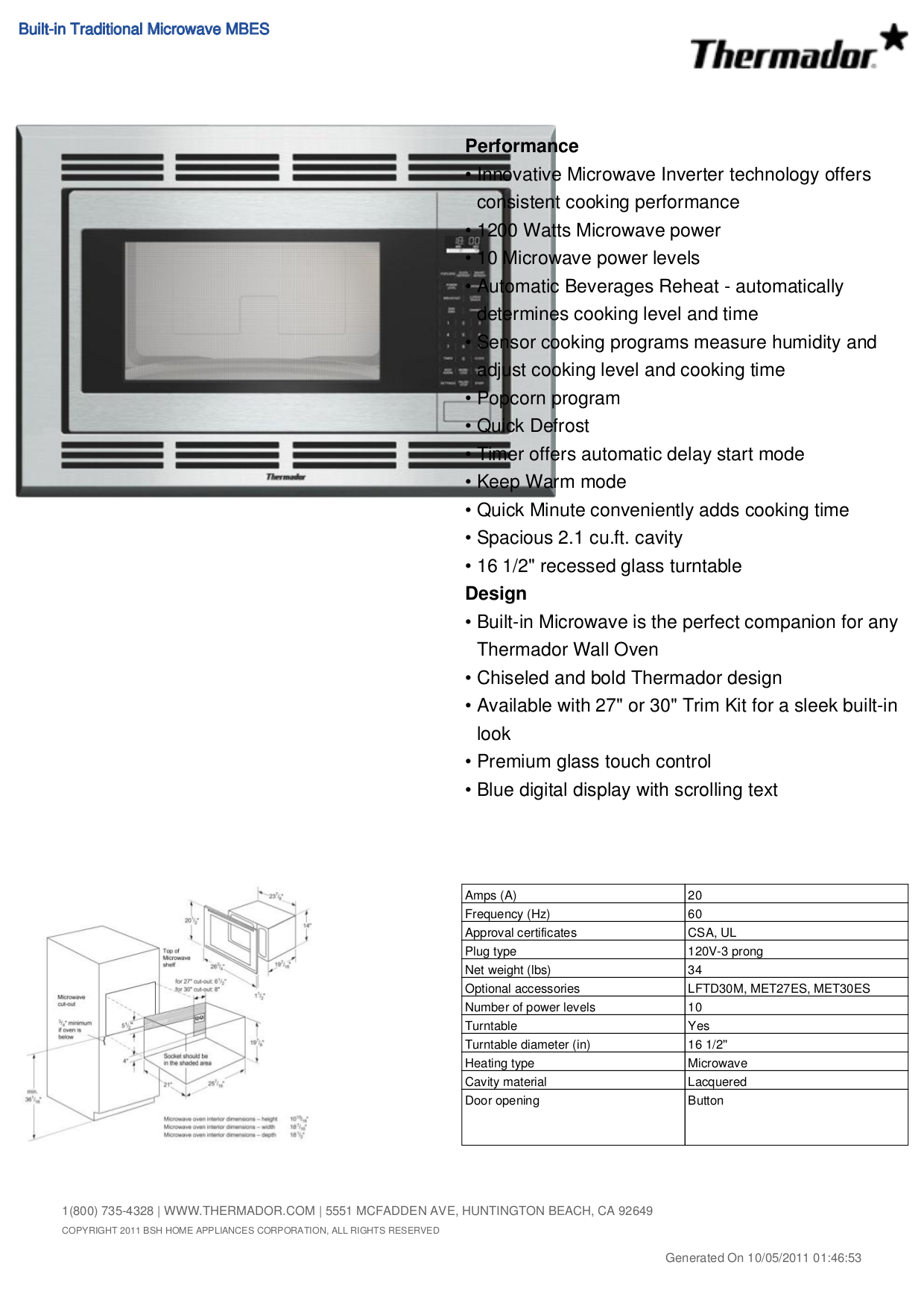pdf for Thermador Oven LFTD30M manual