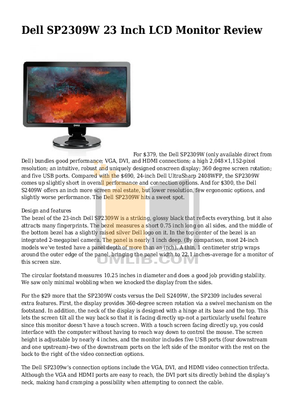 pdf for Dell Monitor SP2309W manual