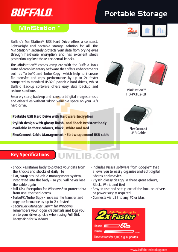 pdf for Buffalo Storage HD-PXT1TU2 manual