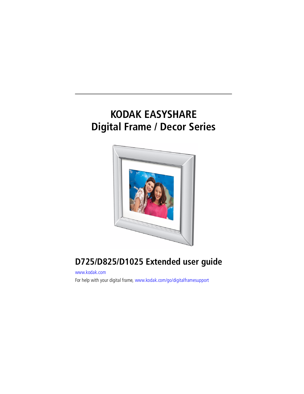 pdf for Kodak Digital Photo Frame EasyShare D1025 manual