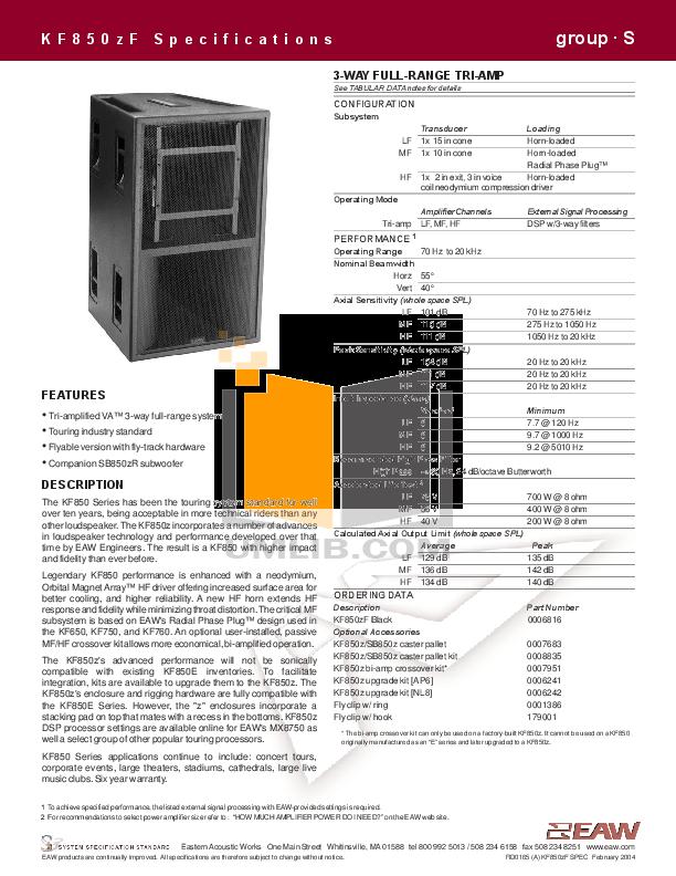 pdf for Eaw Speaker System KF850z manual