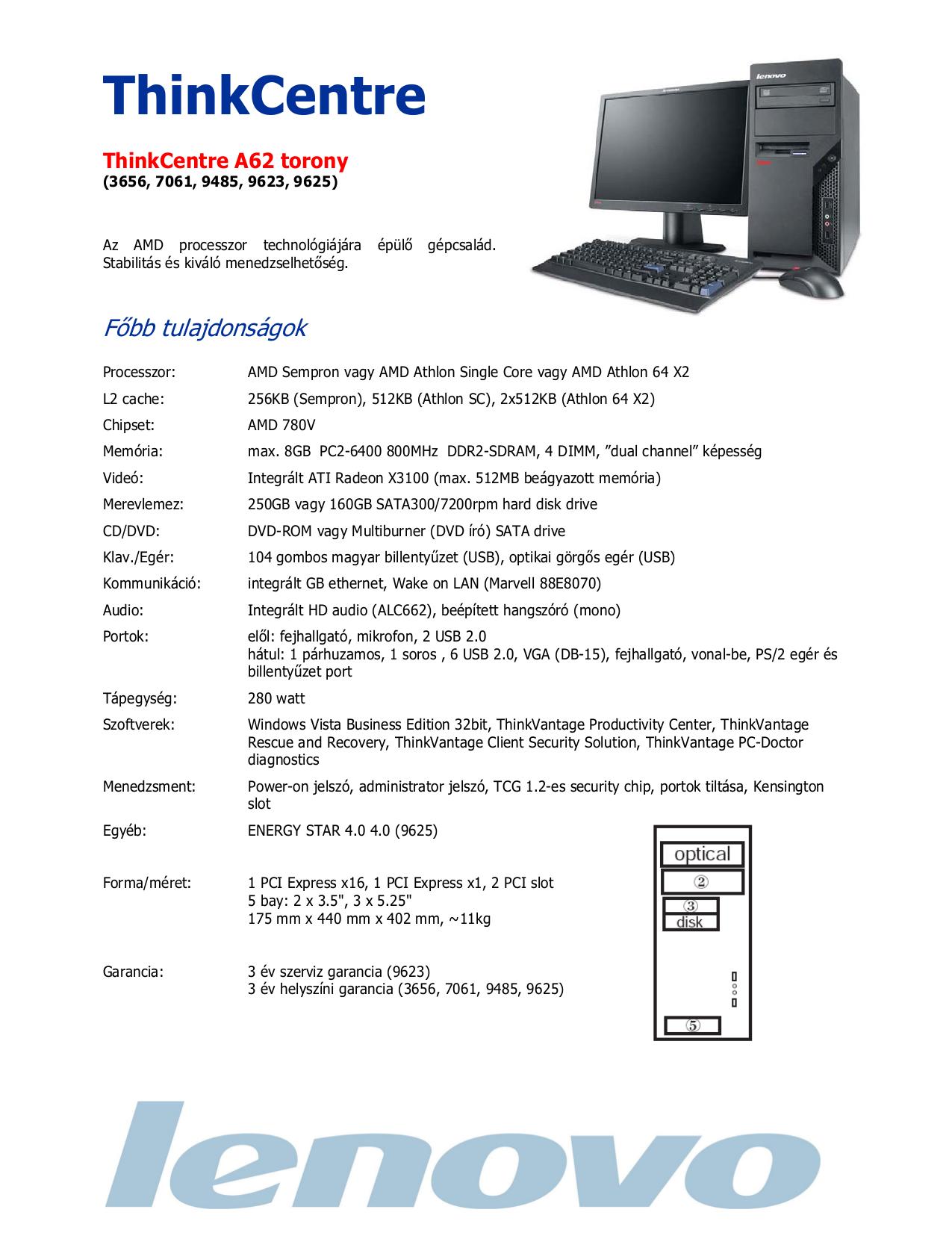 pdf for Lenovo Desktop ThinkCentre A62 9625 manual