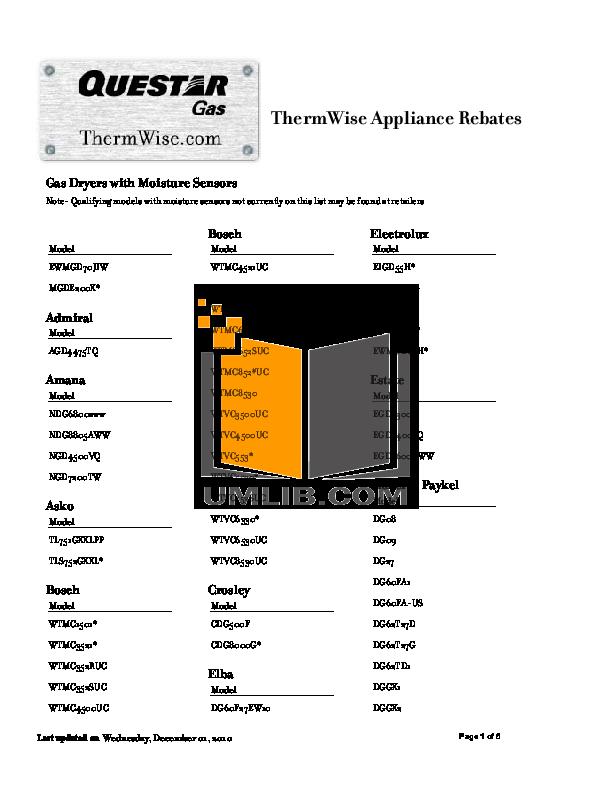 pdf for Frigidaire Dryer GLGR341CC manual