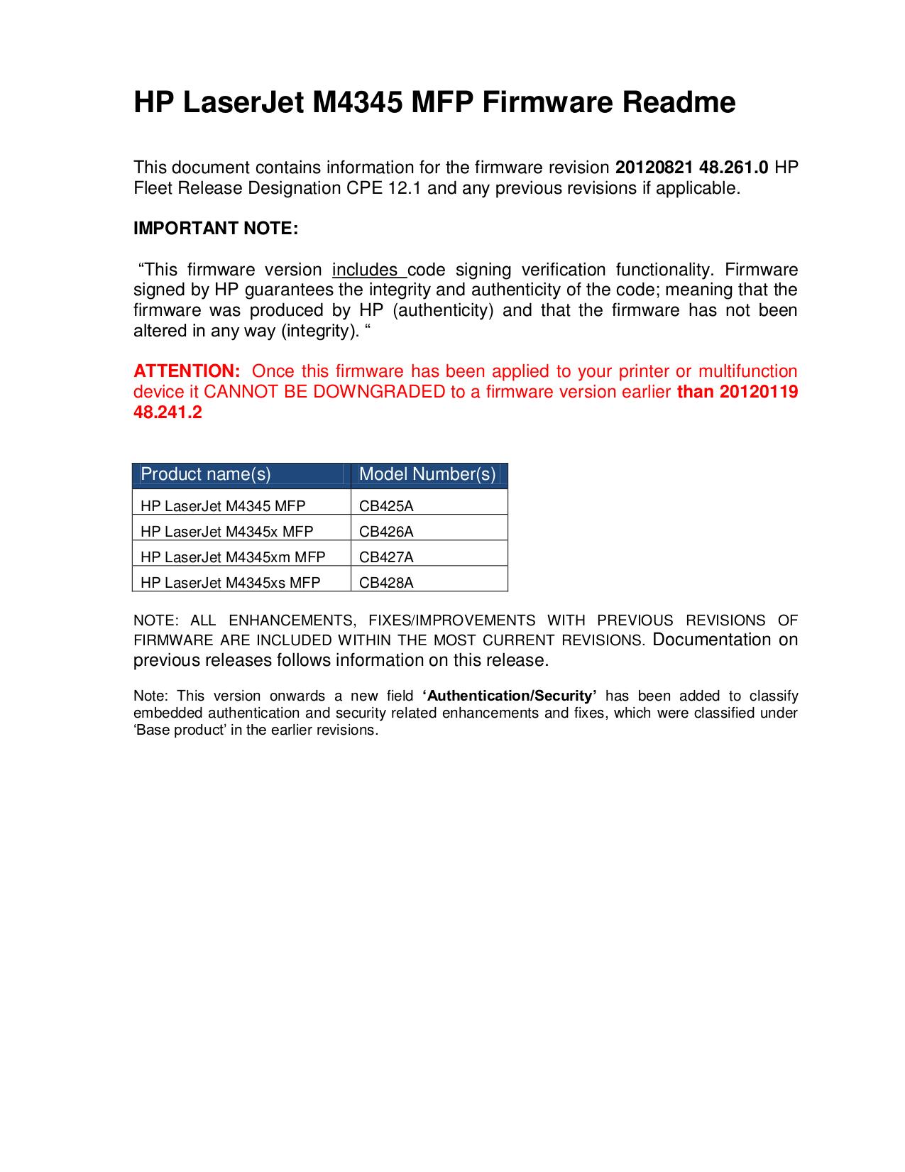 pdf for HP Multifunction Printer Laserjet,Color Laserjet M4345xm manual