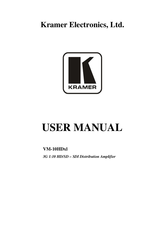 pdf for Kramer Other VM-2N Distribution Amplifiers manual