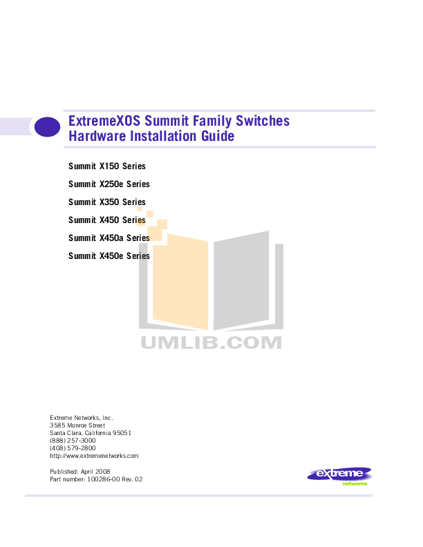 pdf for Extreme Switch Summit X250e-24x manual