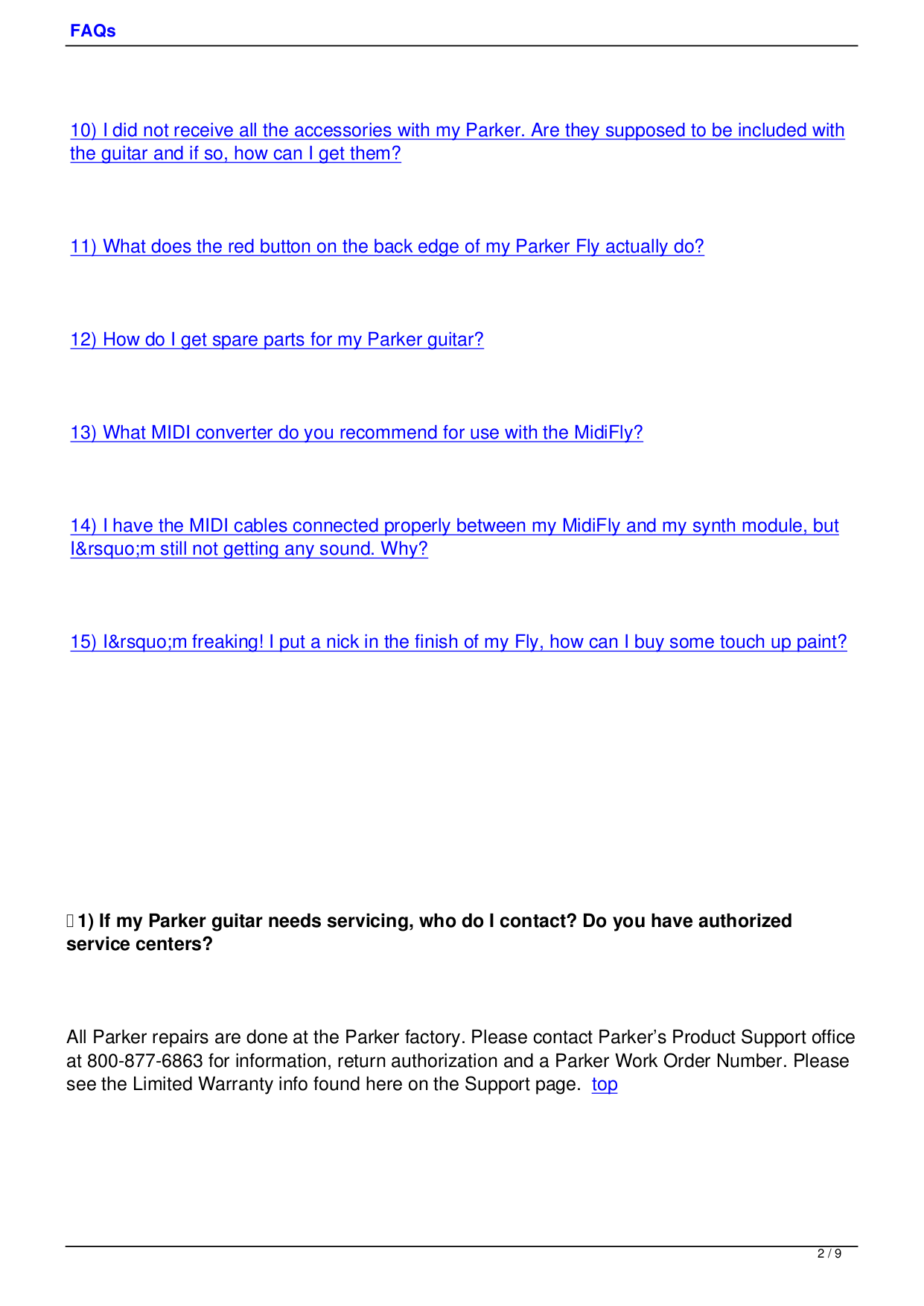 PDF manual for Parker Guitar Fly Classic