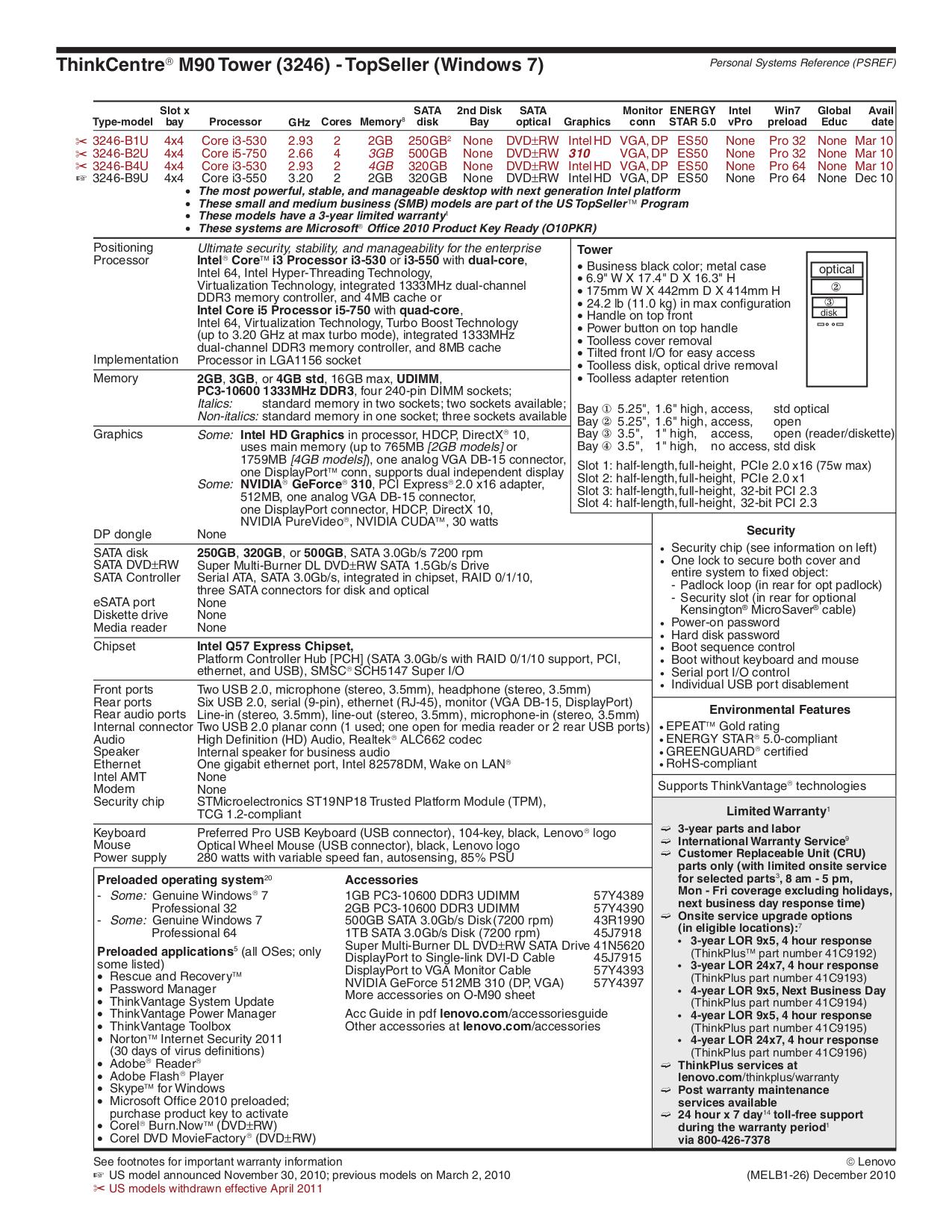 pdf for Lenovo Desktop ThinkCentre M90 3246 manual