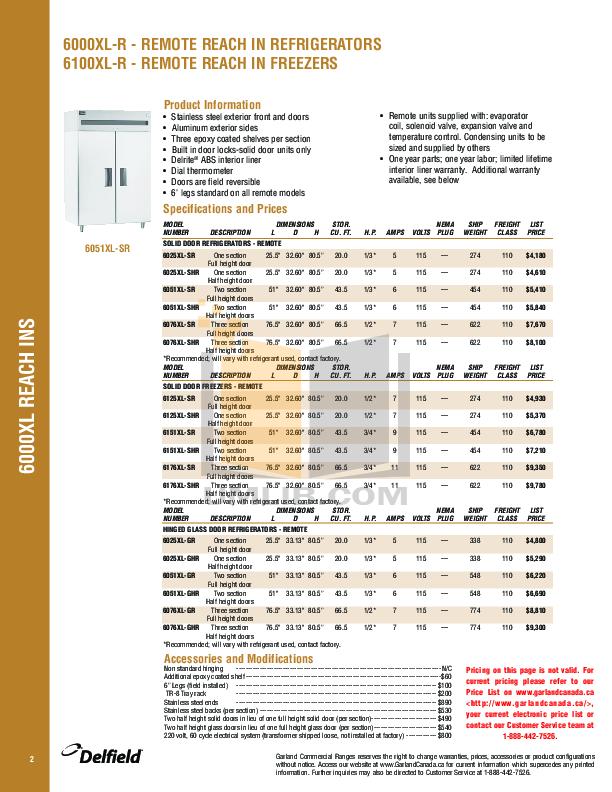Delfield Refrigerator SSDHL2-SH pdf page preview