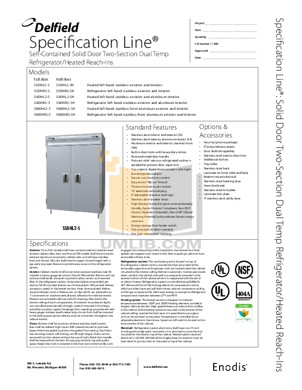 pdf for Delfield Refrigerator SSDHL2-SH manual