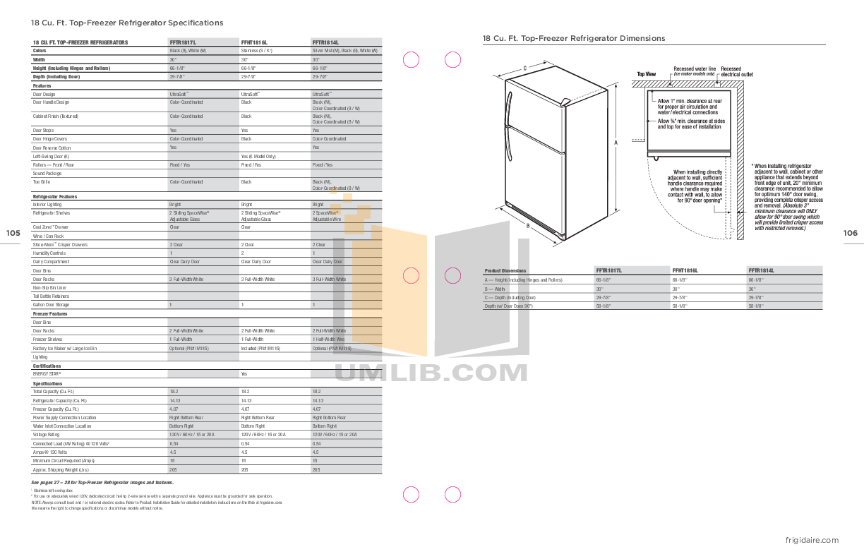 pdf for Frigidaire Refrigerator FFTR1817L manual