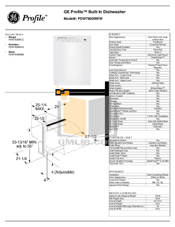 pdf for GE Dishwasher PDW7880NSS manual