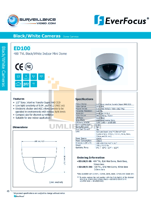 EverFocus Security Camera ED100 pdf page preview