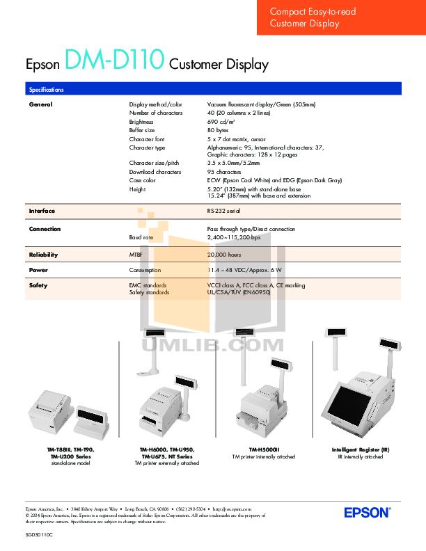 Epson Printer TM-T90 pdf page preview