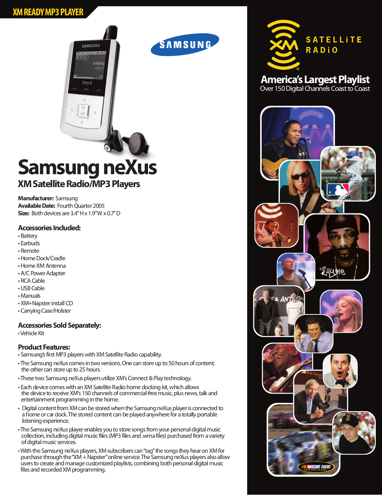 Download free pdf for Samsung Nexus 25 MP3 Player manual