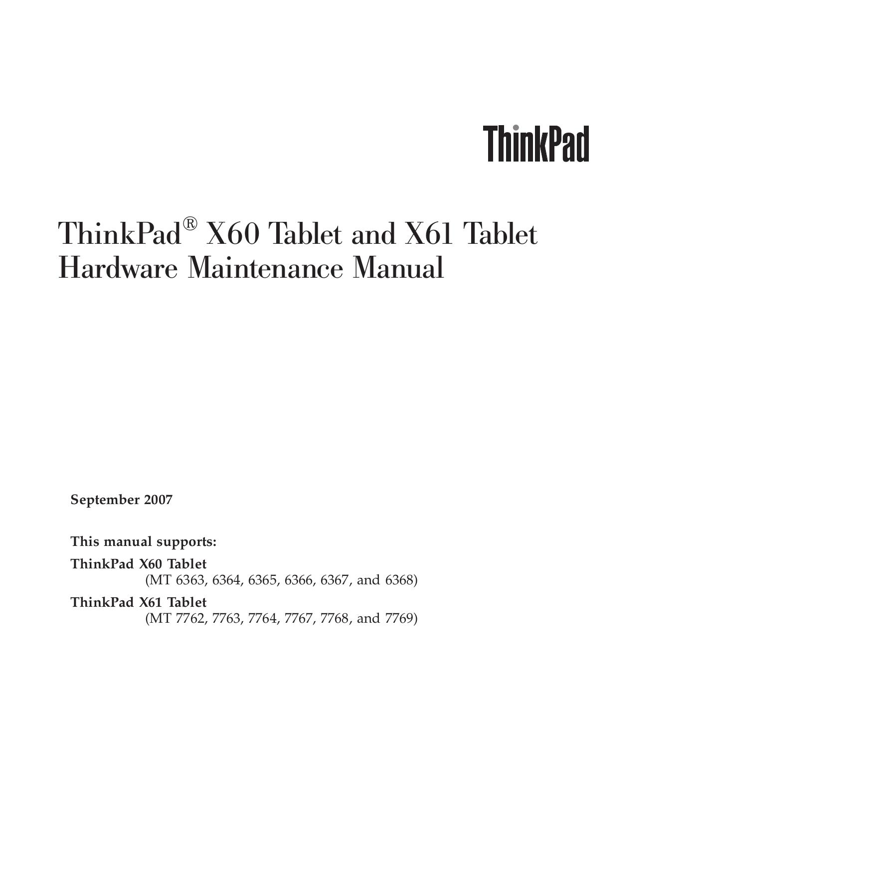 Lenovo thinkpad-x61-tablet-manual.