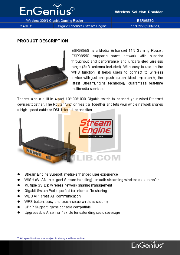 pdf for EnGenius Wireless Router ESR-9855G manual