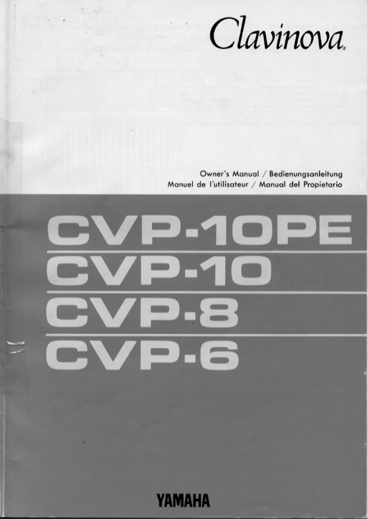 pdf for Yamaha Music Keyboard CVP-8 manual