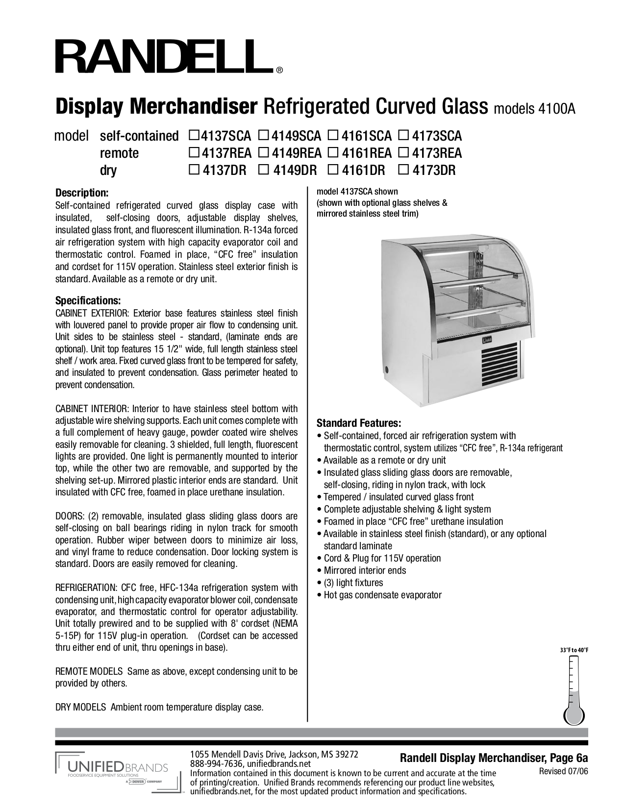 pdf for Randell Other 4137SCA Merchandisers manual