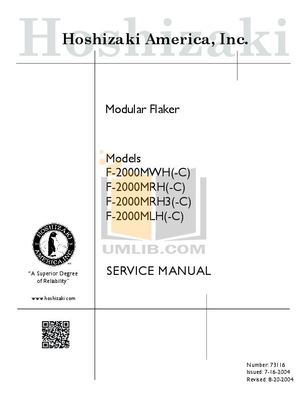pdf for Hoshizaki Other F-2000MLH Modular Flakers manual