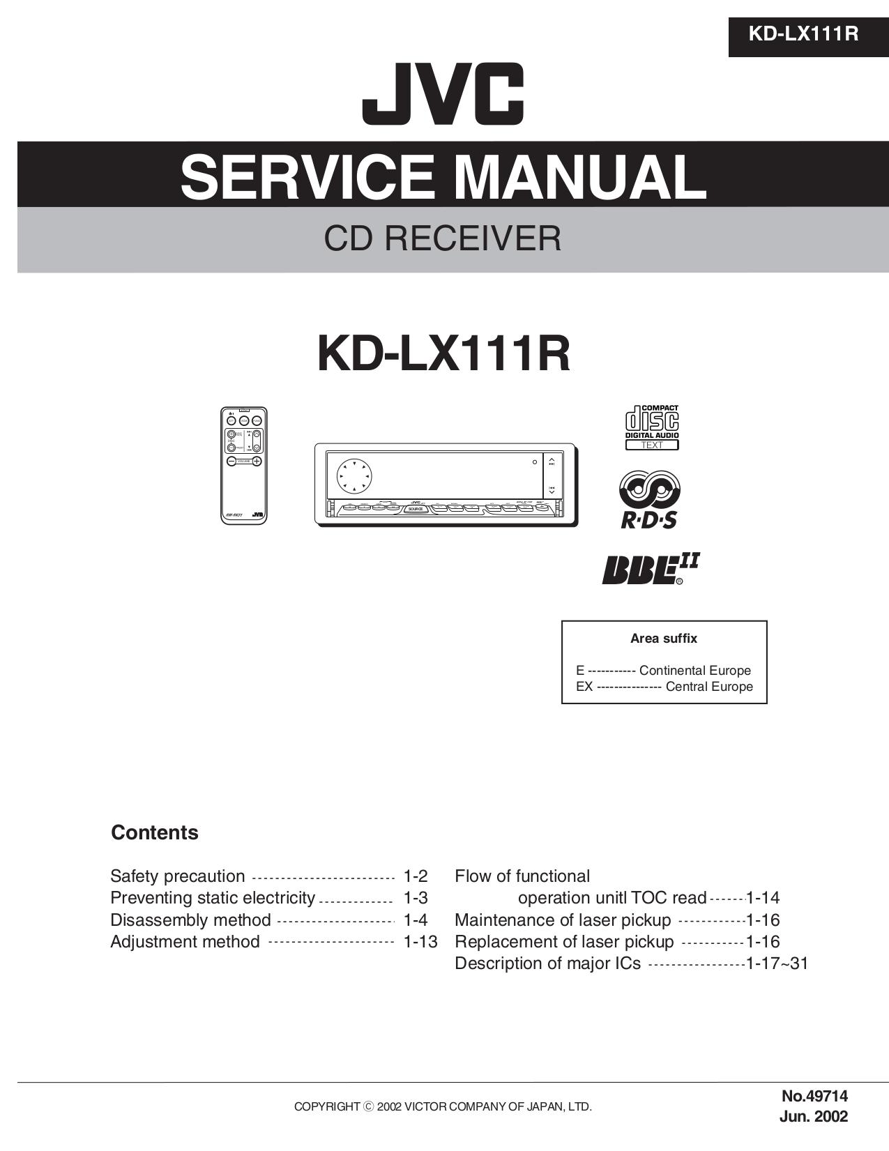 pdf for JVC Car Receiver KD-LX111R manual
