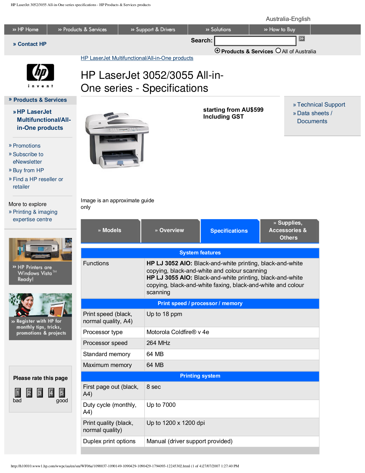 pdf for HP Multifunction Printer Laserjet,Color Laserjet 3055 manual