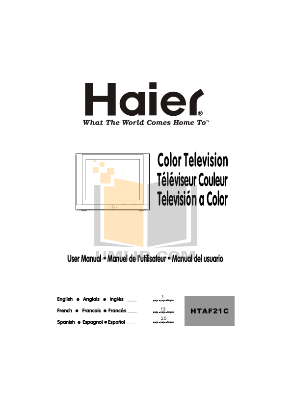 pdf for Haier TV HTAF21B manual