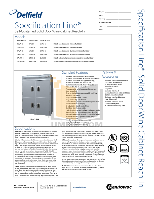 pdf for Delfield Refrigerator SAW2-SH manual