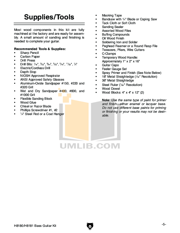 PDF manual for Grizzly Amp H5524