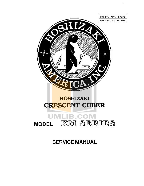 pdf for Hoshizaki Other KM-1600MWB Cuber Machines manual