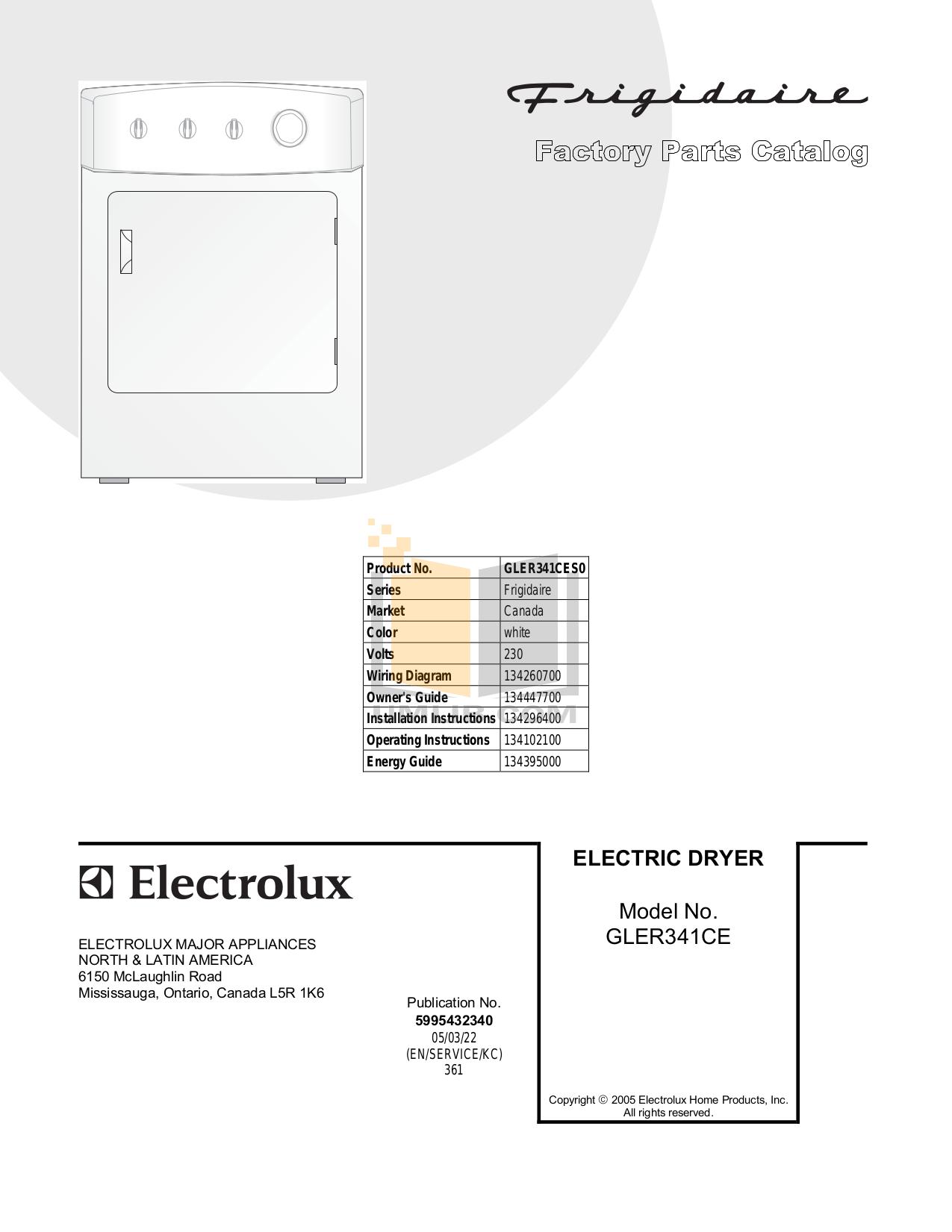 pdf for Frigidaire Dryer GLER341CES0 manual