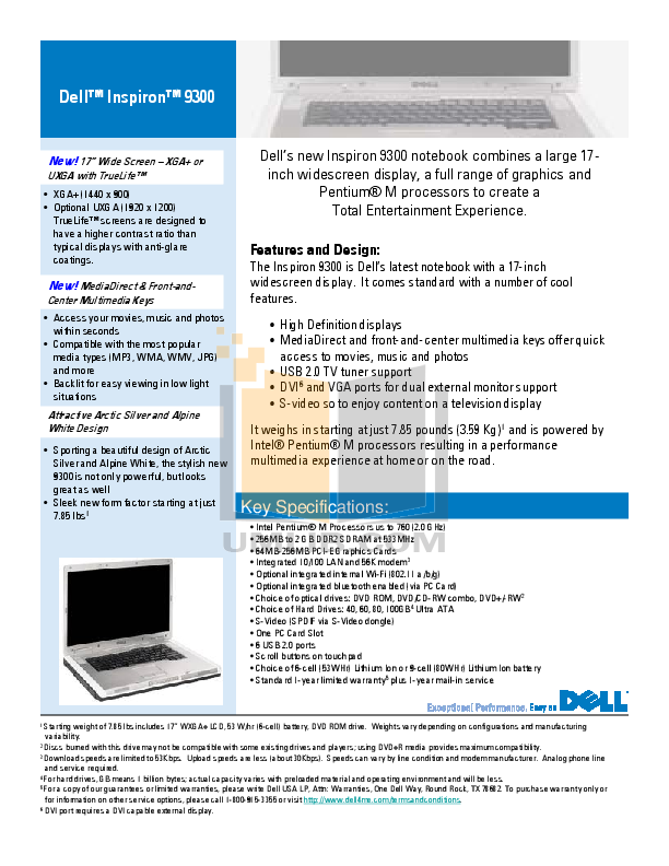 download free pdf for dell inspiron 9300 laptop manual rh umlib com Dell Inspiron PC Dell Inspiron PC