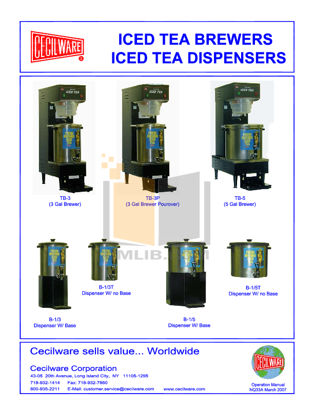 pdf for Cecilware Other TB-3P Dispensers manual