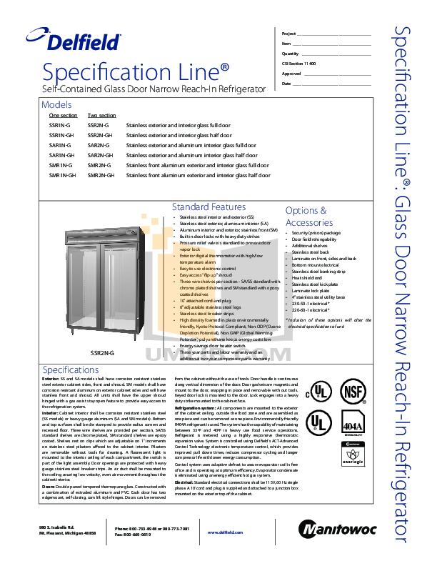 pdf for Delfield Refrigerator SAR2N-G manual