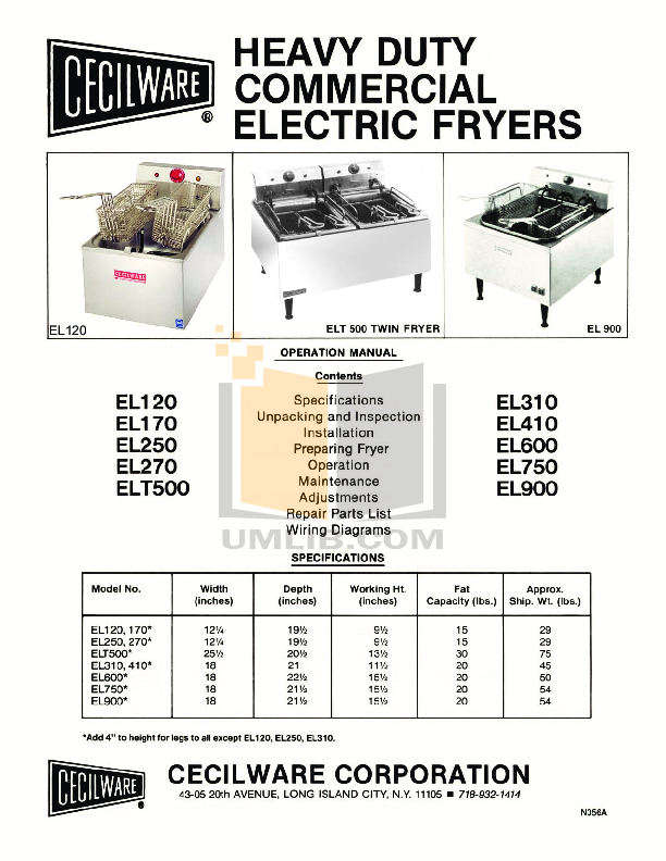 pdf for Cecilware Other EL-6 Fryers manual