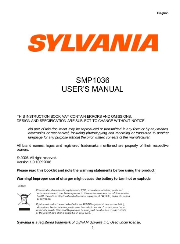 pdf manual for sylvania mp3 player smp1036 rh umlib com Sylvania MP3 Player Manual Sylvania MP3 Player Driver