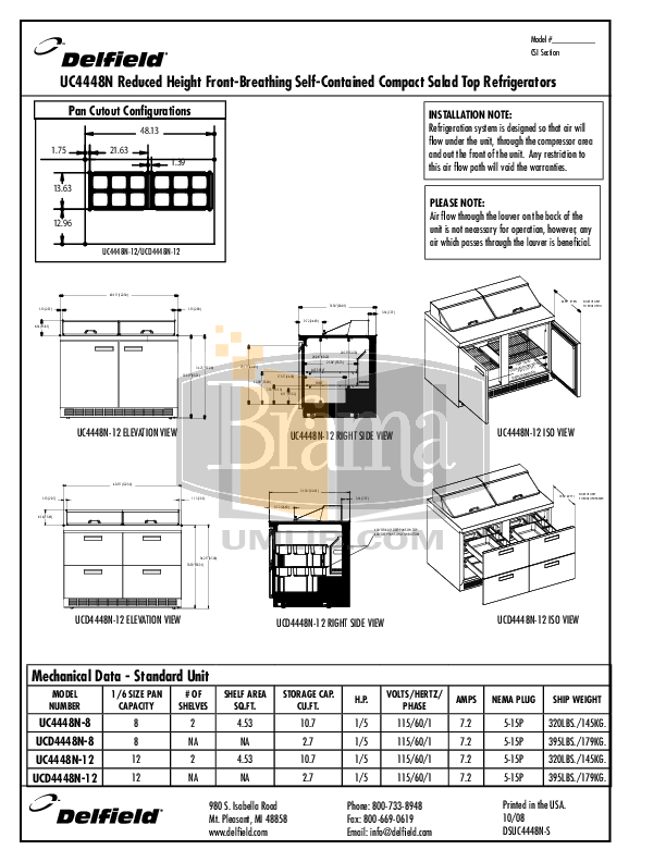 Delfield Refrigerator UCD4448N pdf page preview