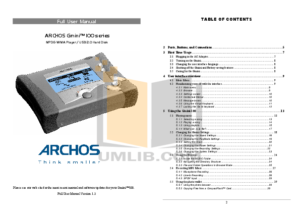 Download free pdf for archos archos key 4gb mp3 player manual.