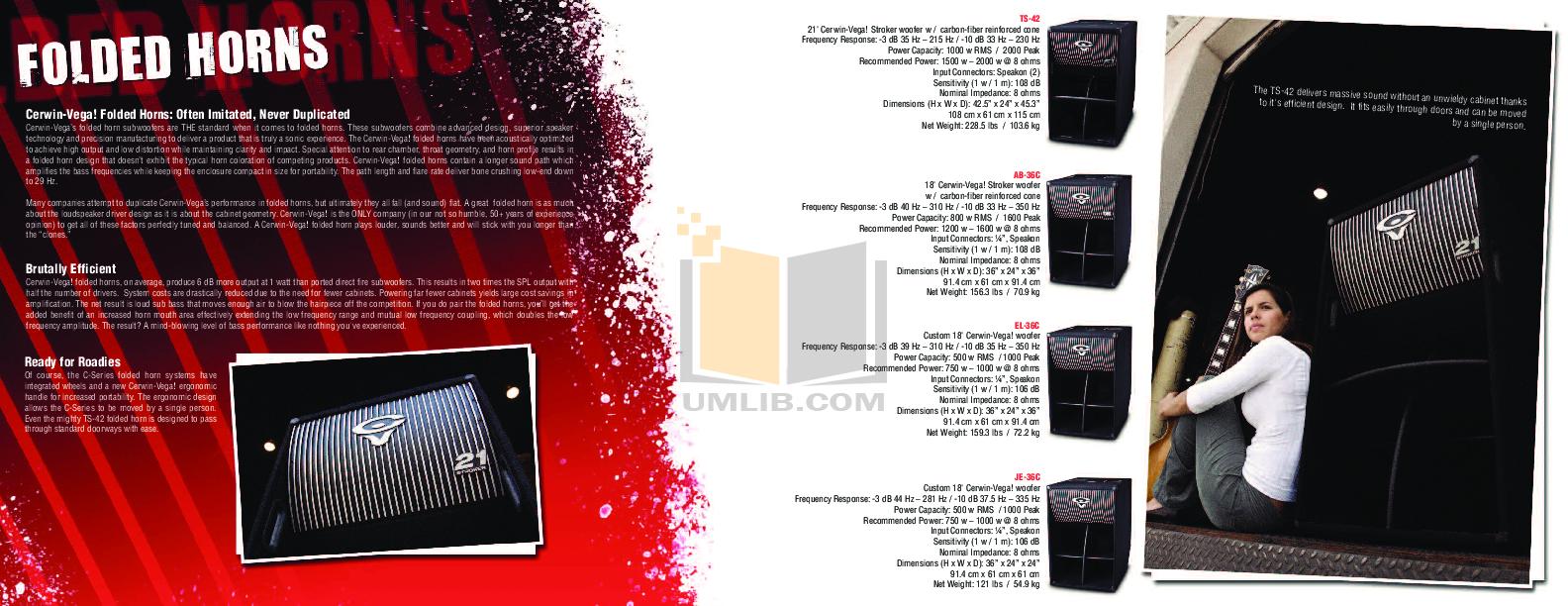 PDF manual for Cerwin-Vega Amp CV-1800