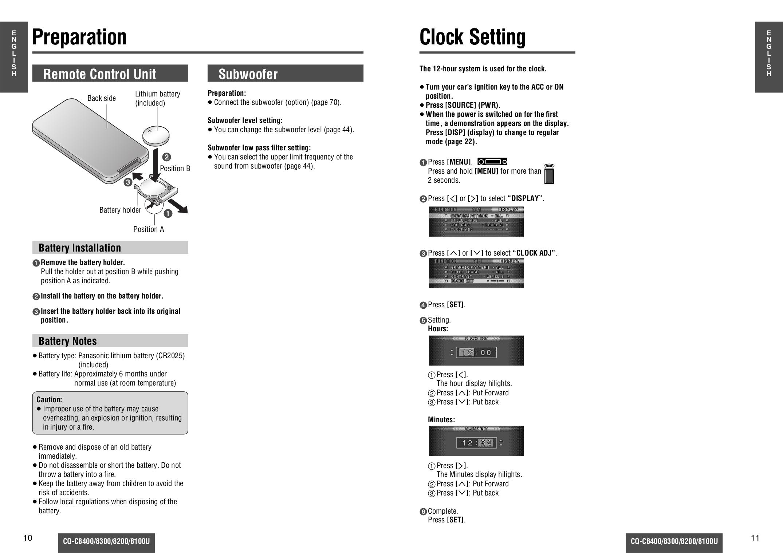 Pdf Manual For Panasonic Car Receiver Cq
