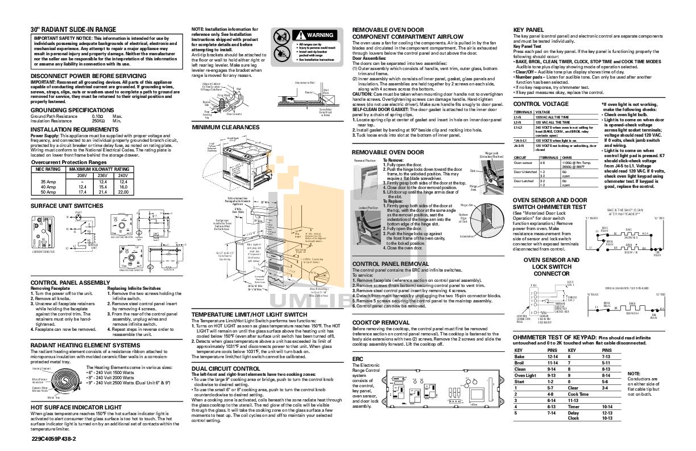 Download Free Pdf For Ge Jsp42 Range Manual Jbp24 Oven Wiring Schematic