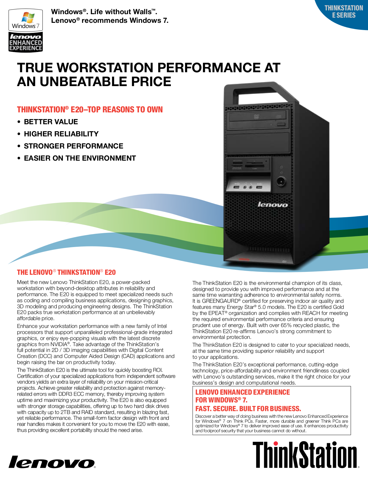 pdf for Lenovo Desktop ThinkStation E20 4220 manual