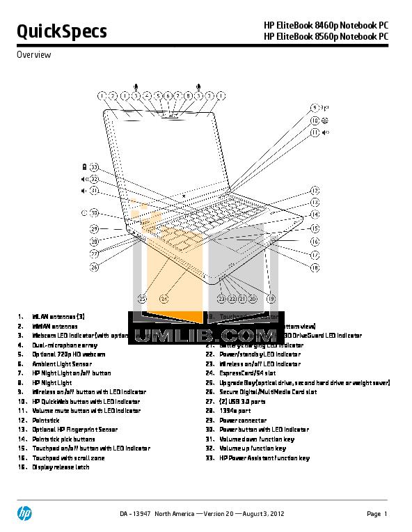 Download free pdf for HP EliteBook 8460p Laptop manual